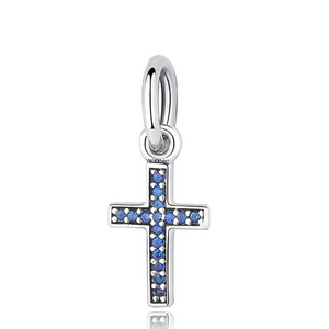 Blue Sparkling Cross Charm Sterling Silver | Loulu Charms