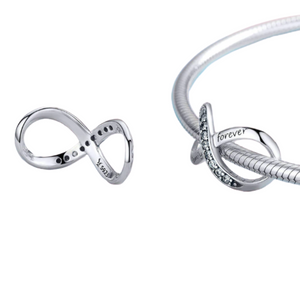 Family Forever Infinity Charm Sterling Silver | Loulu Charms