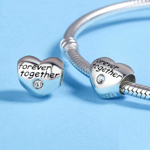 Forever Together Heart Charm Sterling Silver