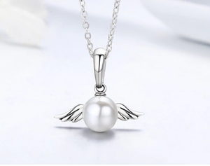 White Angel Pearl Charm Sterling Silver | Loulu Charms