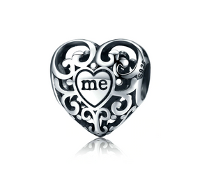 Silver Heart Love me & You Charm Sterling Silver