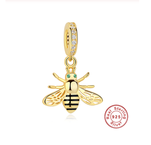 Gold Bee Charm Sterling Silver