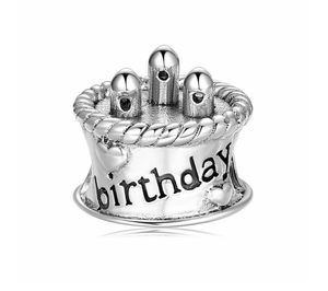 Birthday Cake Charm Sterling Silver fit Charm Bracelets | Loulu Charms