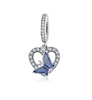 Butterfly Heart Charm Sterling Silver
