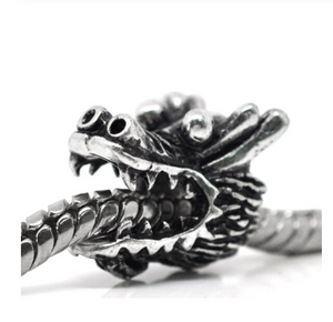 Silver Dragon Head Charm | Loulu Charms