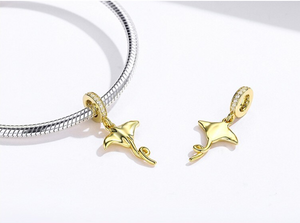 Golden Manta Ray Fish Charm Sterling Silver