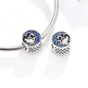 Blue Crystal Lucky Moon Cat Charm Silver Charm Bracelet | Loulu Charms
