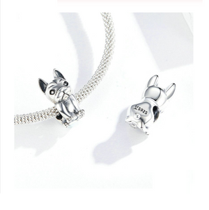 French Bulldog Charm Sterling Silver fit Charm Bracelet | Loulu Charms