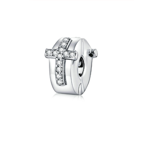 Cross Stopper Clip Charm Sterling Silver | Loulu Charms