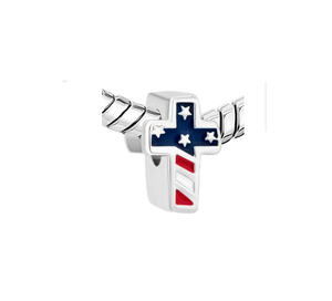 USA Flag Cross Charm