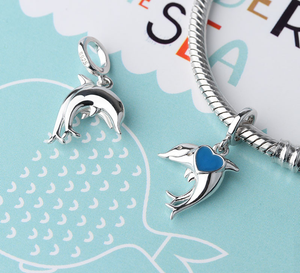 Dolphins Charm Sterling Silver