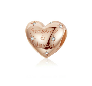 Rose Gold Forever & Always Charm Sterling Silver