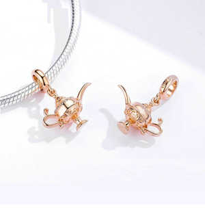 Rose Gold Aladdin Genie Lamp Charm Sterling Silver | Loulu Charms