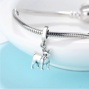 Boston Terrier Dangle Charm Silver fit Charm Bracelet | Loulu Charms