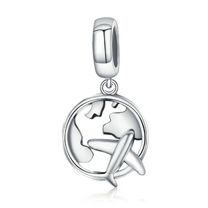 Around the World Travel Charm Sterling Silver