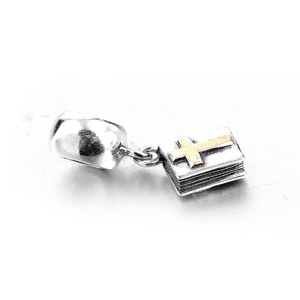 Bible Cross Faith Two Tone Dangle Charm Sterling Silver | Loulu Charms