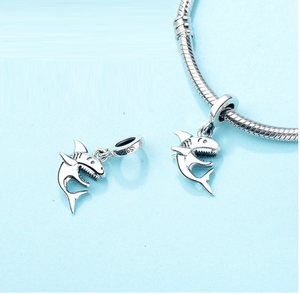 Happy Shark Charm Sterling Silver