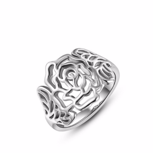 Silver Rose Shaped Ring | Loulu Charms