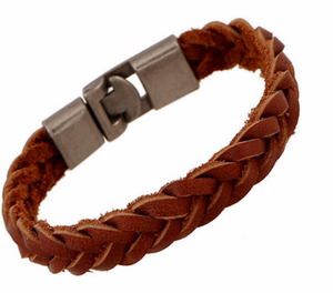 Braided Leather Bracelet - Brown Leather Bracelet