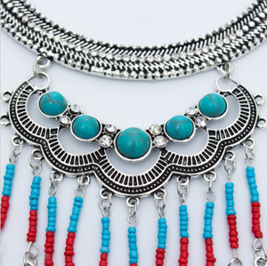 Boho Feather Necklace | Gypsy Turquoise Feathers Necklace