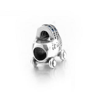 It is a Girl Baby Bassinet Crystal Charm Sterling Silver| Loulu Charms