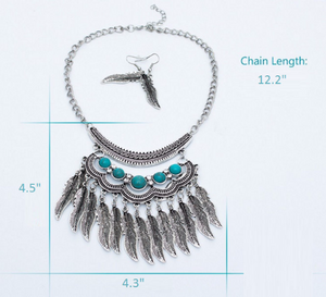 Boho Feather Necklace | Gypsy Statement Necklace
