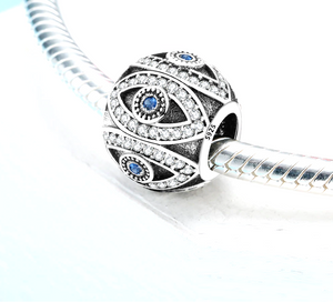 Blue Evil Eye Charm Sterling Silver | Loulu Charms