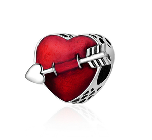 First Love Red Enamel Heart Charm Sterling Silver | Loulu Charms