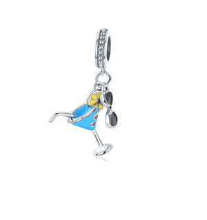 Fun in the Sun Martini & Sunglasses Vacation Charm Silver| Loulu Charms