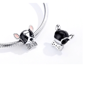 Black & White Chihuahua with a Tie Charm Sterling Silver | Loulu Charms