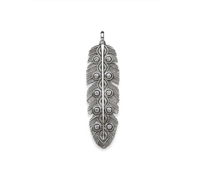 Boho Feather Pendant Sterling Silver | Loulu Charms