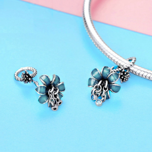 Blue Crystal Enamel Lily Flower Dangle Charm Silver | Loulu Charms