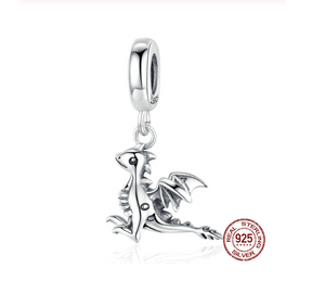 Magical Dragon Dangle Charm Silver fit Charm Bracelet | Loulu Charms