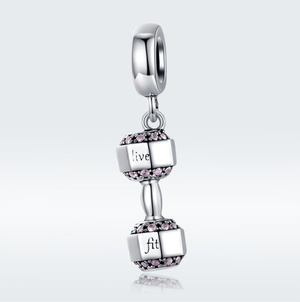 Live Fit Dumbbell Charm Sterling Silver | Loulu Charms