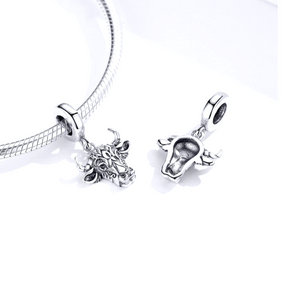 Bull Head Charm Sterling Silver