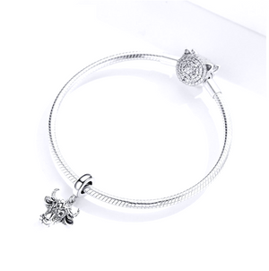 Taurus Bullhead Dangle Charm Silver fit Charm Bracelet | Loulu Charms