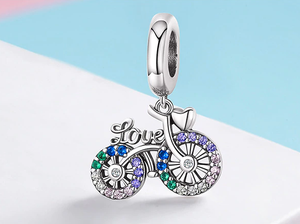 Sparkling Bicycle Charm Sterling Silver | Loulu Charms