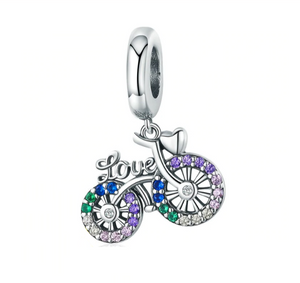Sparkling Bicycle Charm Sterling Silver