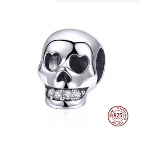 Heart Eyes Sugar Skull Charm Sterling Silver