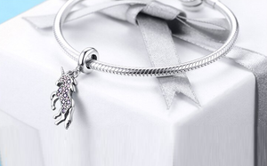 Mystical Unicorn Crystal Dangle Charm Sterling Silver | Loulu Charms