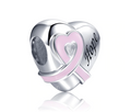 Hope Pink Heart Ribbon Charm Sterling Silver