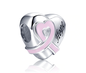 Hope Pink Ribbon Breast Cancer Awareness Heart Charm Sterling Silver