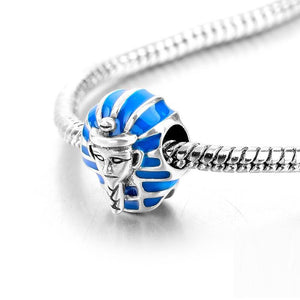 Blue Enamel Egyptian Pharaoh Charm Sterling Silver