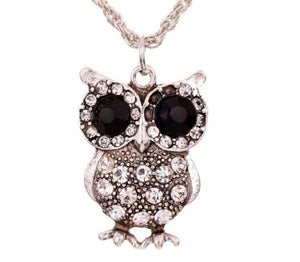 Silver Owl Rhinestone Necklace