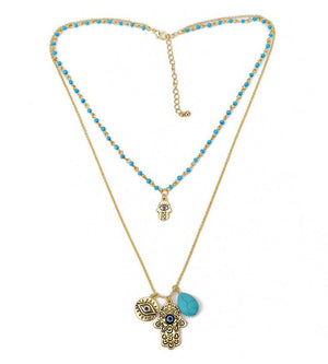 Turquoise Evil Eye Necklace | Multilayer Hamsa Necklace