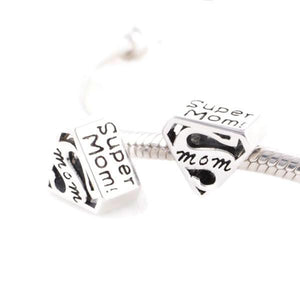 Super Mom Triangle Charm Silver fit Charm Bracelet | Loulu Charms