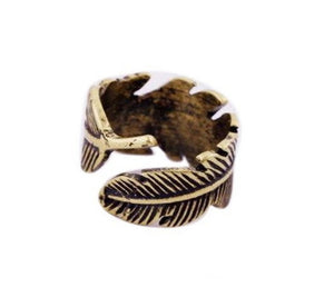 Feather Ring Antique Gold | Loulu Charms