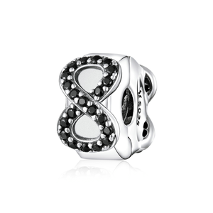 Crystal Infinity Symbol Stopper Charm Sterling Silver | Loulu Charms