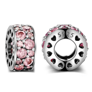 Pink Sparkle Spacer Charm Sterling Silver
