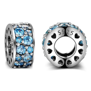 Blue Sparkle Spacer Charm Sterling Silver | Loulu Charms